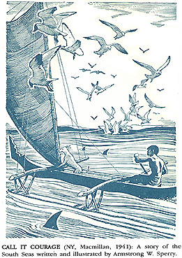 Illustration by Armstrong Sperry for Call It Courage, p. 91