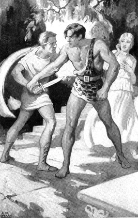 Frontis illustration by Armstrong Sperry from Edgar Rice Burroughs' Tarzan and the Lost Empire